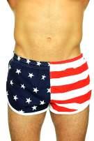 UZZI Men's American Flag and Nylon Swimwear Running Shorts