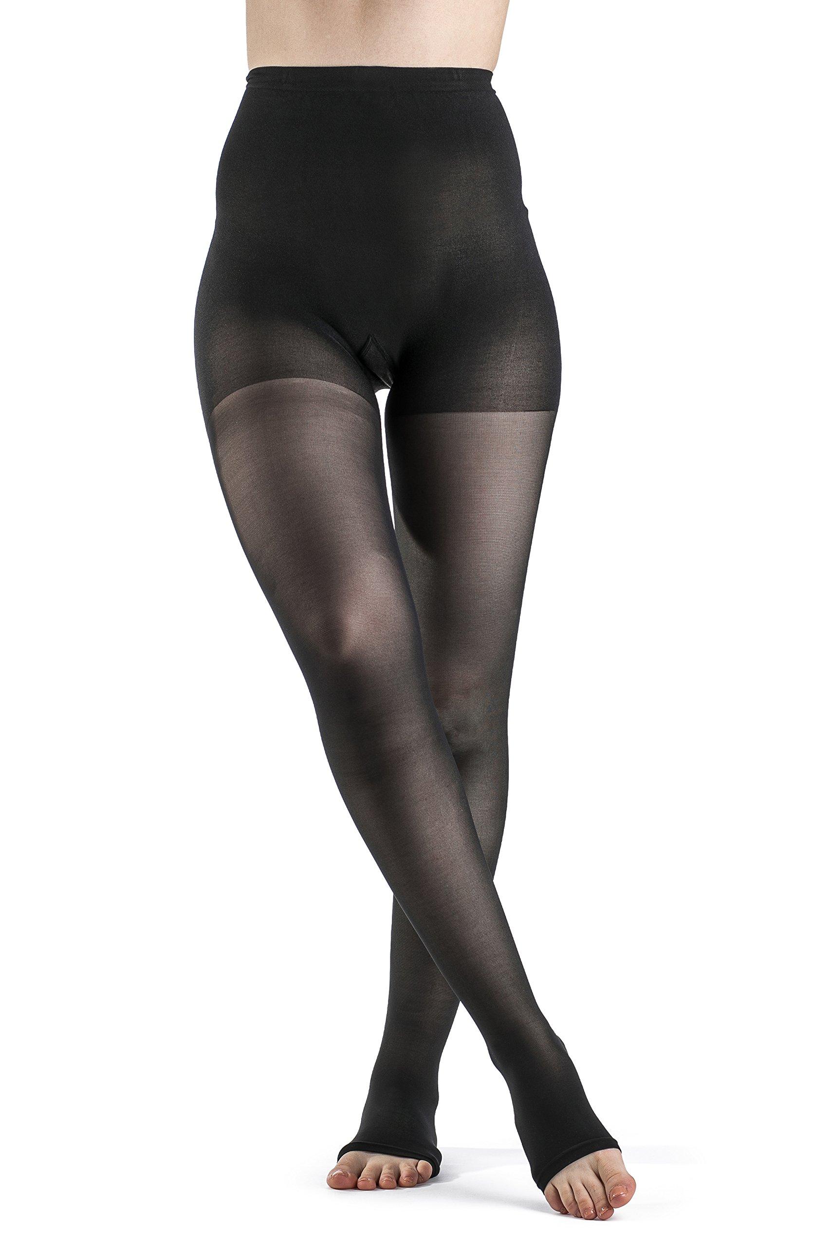 SIGVARIS Women's EVERSHEER 780 Open Toe Waist-High Compression Pantyhose 20-30mmHg