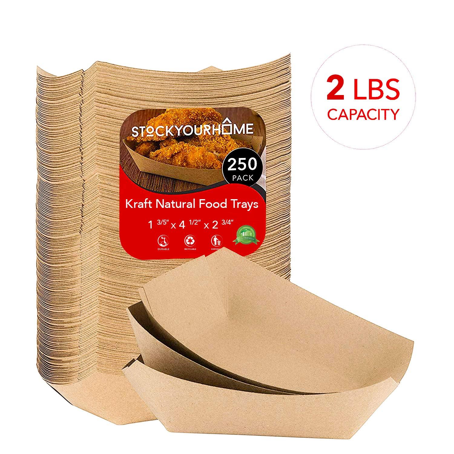 """Paper Food Boats (250 Pack) Disposable Brown Tray 2 Lb - Eco Friendly Brown Paper Food Tray 4.5"""" x 2.75"""" – Serving Boats for Concession Stand Food"""