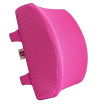 LoveHome Memory Foam Lumbar Support Back Cushion with 3D Mesh Cover Balanced Firmness for Lower Back Pain Relief - Ideal Back Pillow for Office Chair and Car Seat - Pink