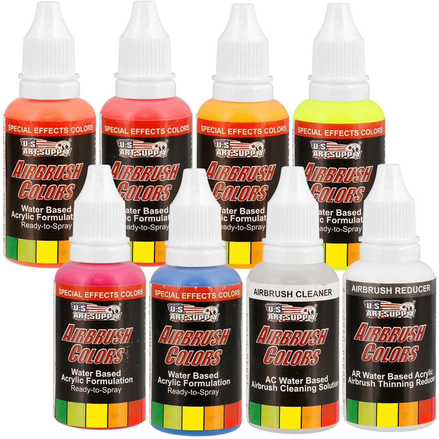 U.S. Art Supply 6 Color Fluorescent Acrylic Neon Colors Airbrush, Leather & Shoe Paint Set with Reducer & Cleaner 1 oz. Bottles
