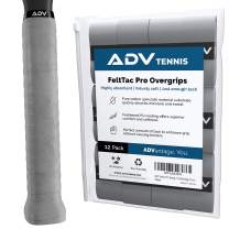 ADV Tennis Dry Overgrip - 12 Pack - Ultra Absorbent Grip Tape with Exclusive FeltTac Material for High Velvety Comfort - Pro Tested & Designed (Gray)