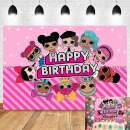 Sweet Pink Cartoon Baby Girl Dolls Toy Photography Backdrop Polka Dots Stripe Photo Background Princess Happy Birthday Party Banner Decoration Cake Table Supplies Photo Booths Studio Props Vinyl 5x3ft