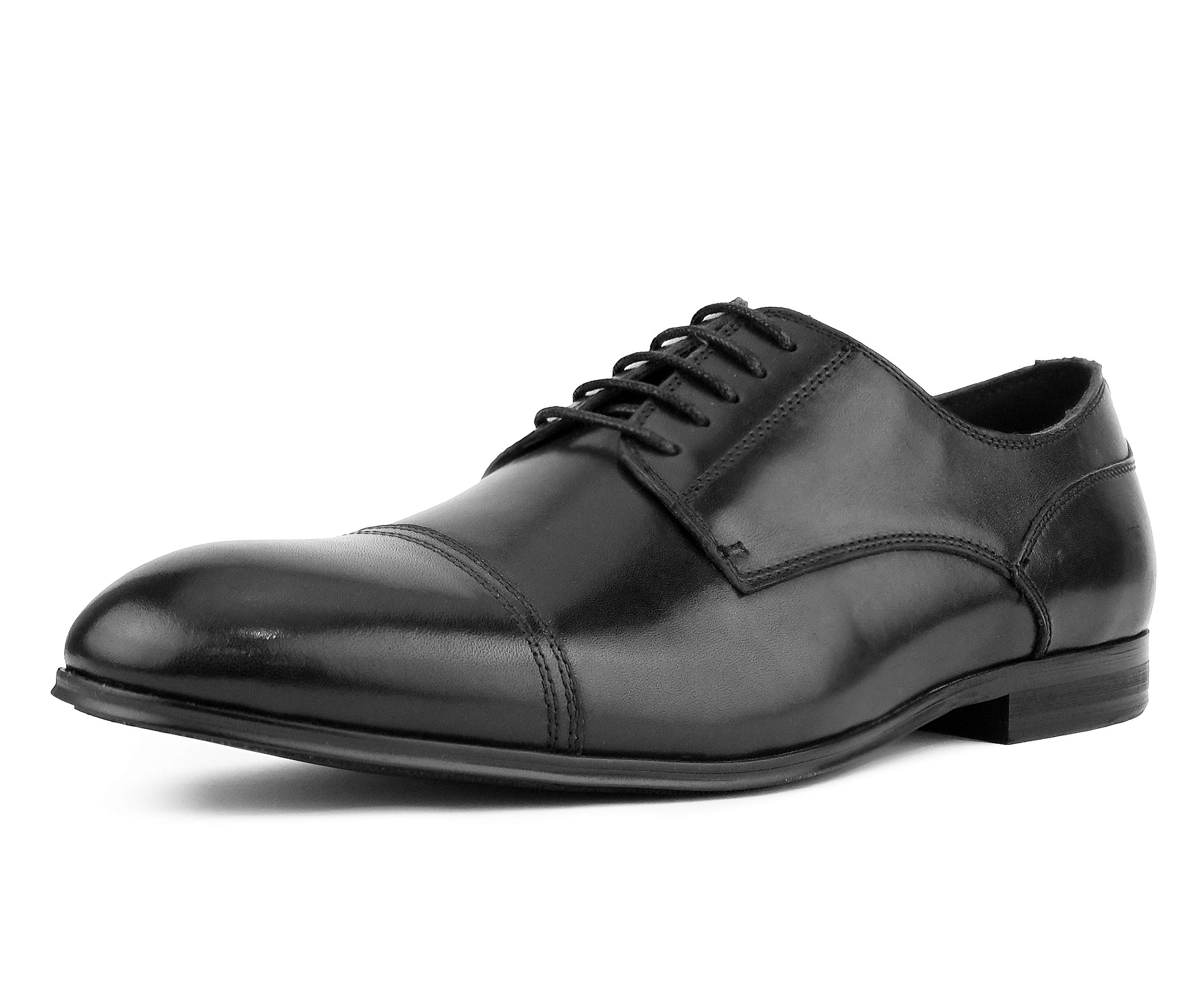 Asher Green AG1618 - Men's Oxford Dress Shoes, Genuine Leather Cap Toe Lace Up with Detailed Stitching - Formal Men's Leather Shoes