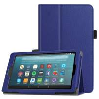 Fintie Folio Case for All-New Amazon Fire 7 Tablet (9th Generation, 2019 Release) - Slim Fit PU Leather Standing Protective Cover with Auto Wake/Sleep, Navy