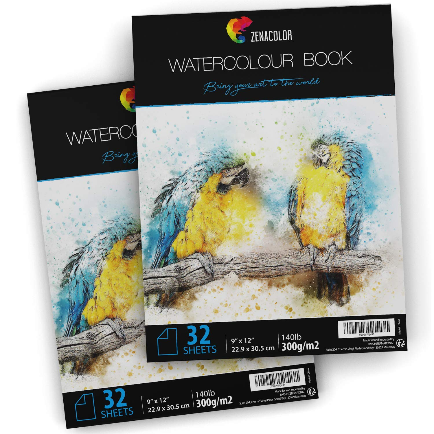 """64 Pages Watercolor Paper Pad, 9"""" x 12"""", for Watercolor Paint and Watercolor Pencils - 2 x 32 White Sheets 140lb 300g"""