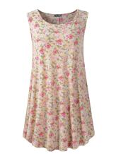 Veranee Women's Sleeveless Swing Tunic Summer Floral Flare Tank Top