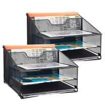 Samstar 2 Pack Mesh Desk File Organizer Letter Tray Holder, Desktop File Folder Holder with 3 Paper Trays and 2 Vertical Upright Section, Black.