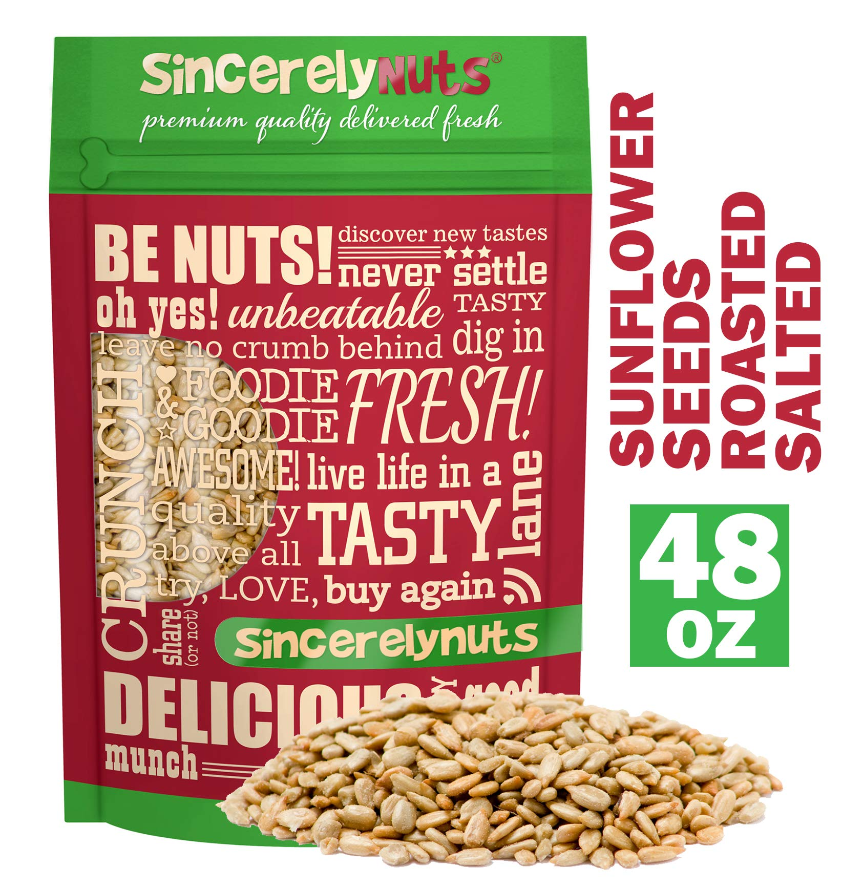 Sincerely Nuts Sunflower Seeds Roasted and Salted (No Shell) (3 LB)- Gluten-Free Food, Vegan, and Kosher Certified Snack-Nutritious and Satisfying-Crunchy and Ready to Eat-Freshness Guaranteed