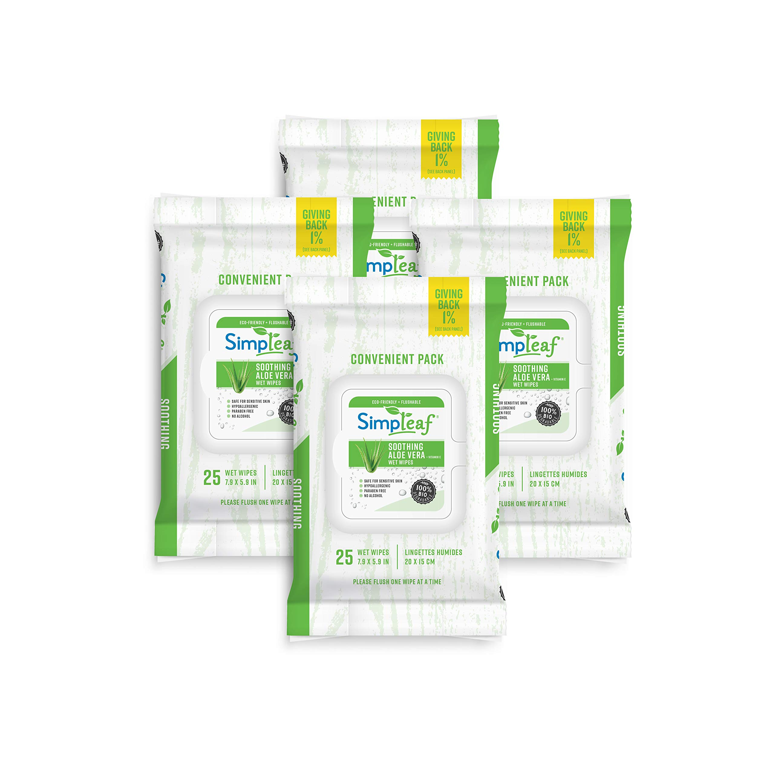 Simpleaf Flushable Wipes Aloe Vera (25 Counts) 4 packs