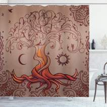 """Ambesonne Ethnic Shower Curtain, Vintage Tree of Life with Sun and Moon Elf on Branches Enchanted, Cloth Fabric Bathroom Decor Set with Hooks, 84"""" Long Extra, Orange Mauve"""