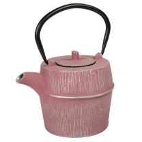 Creative Home 73520 29 oz Cast Iron Tea Pot, Silver and Pink Color