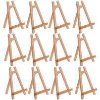 """U.S. Art Supply 10.5"""" Small Tabletop Display Stand A-Frame Artist Easel (Pack of 12) Beechwood Tripod, Kids Student School Painting Party Table Desktop Easel, Portable Canvas Photo Picture Sign Holder"""