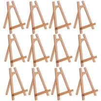 "U.S. Art Supply 10.5"" Small Tabletop Display Stand A-Frame Artist Easel (Pack of 12) Beechwood Tripod, Kids Student School Painting Party Table Desktop Easel, Portable Canvas Photo Picture Sign Holder"