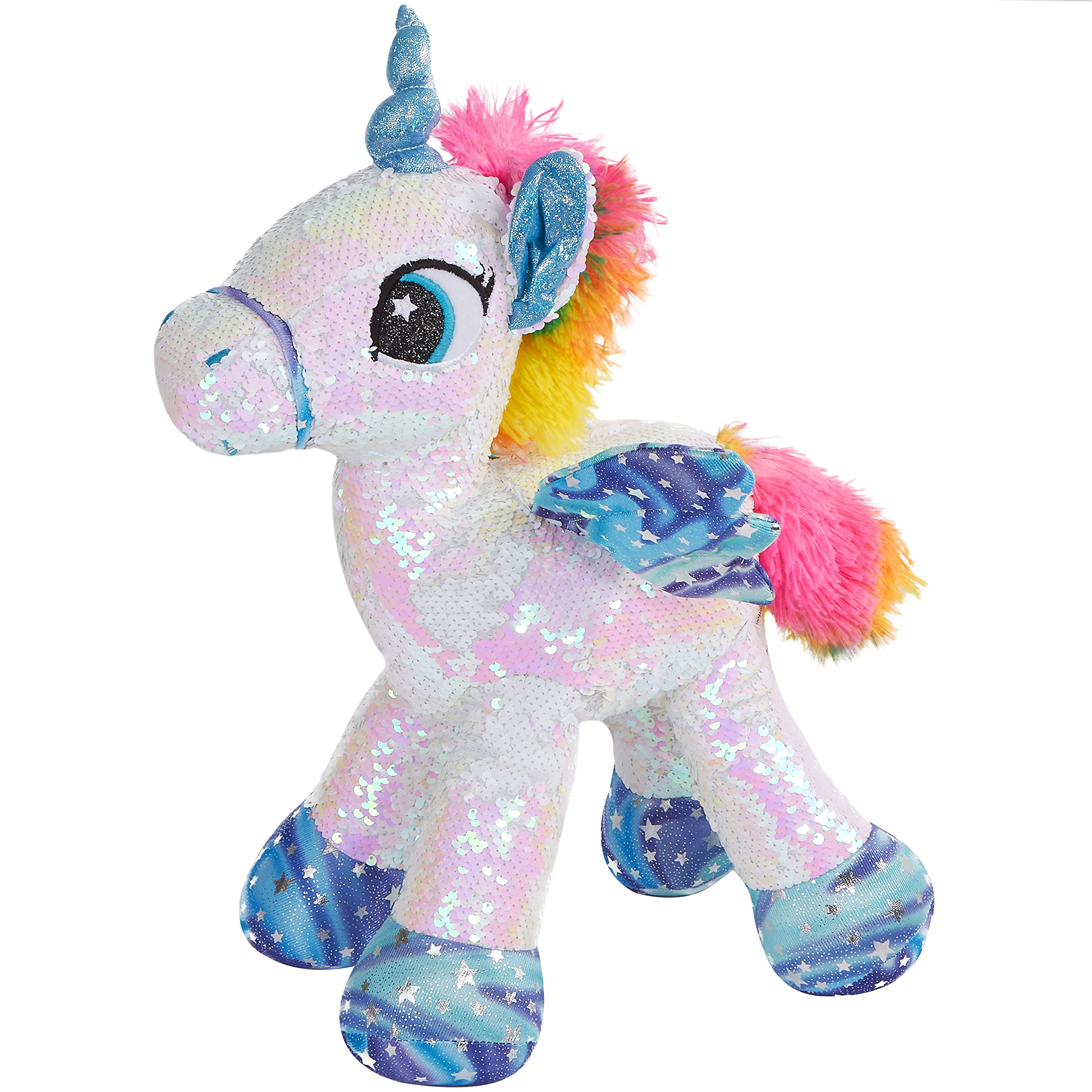 Athoinsu Flippable Sequin Unicorn Stuffed Animal Sparkle Plush Toys with Reversible Glitter Two-Side Sequins Nice Gifts for Kids Friends, White, 18''