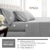 Morgan Home Cotton Rich T-Shirt Soft Heather Jersey Knit Sheet Set - All Season Bed Sheets, Warm and Cozy (Queen, Heather Grey)