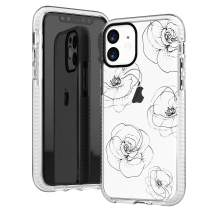 iPhone 11 Clear Case,Girls Women Cute Trendy Girly Line-Drawing Elegant Classical Black Roses Floral Flowers Daisy Less is More Elegant Soft Protective Clear Case with Design Compatible for iPhone 11