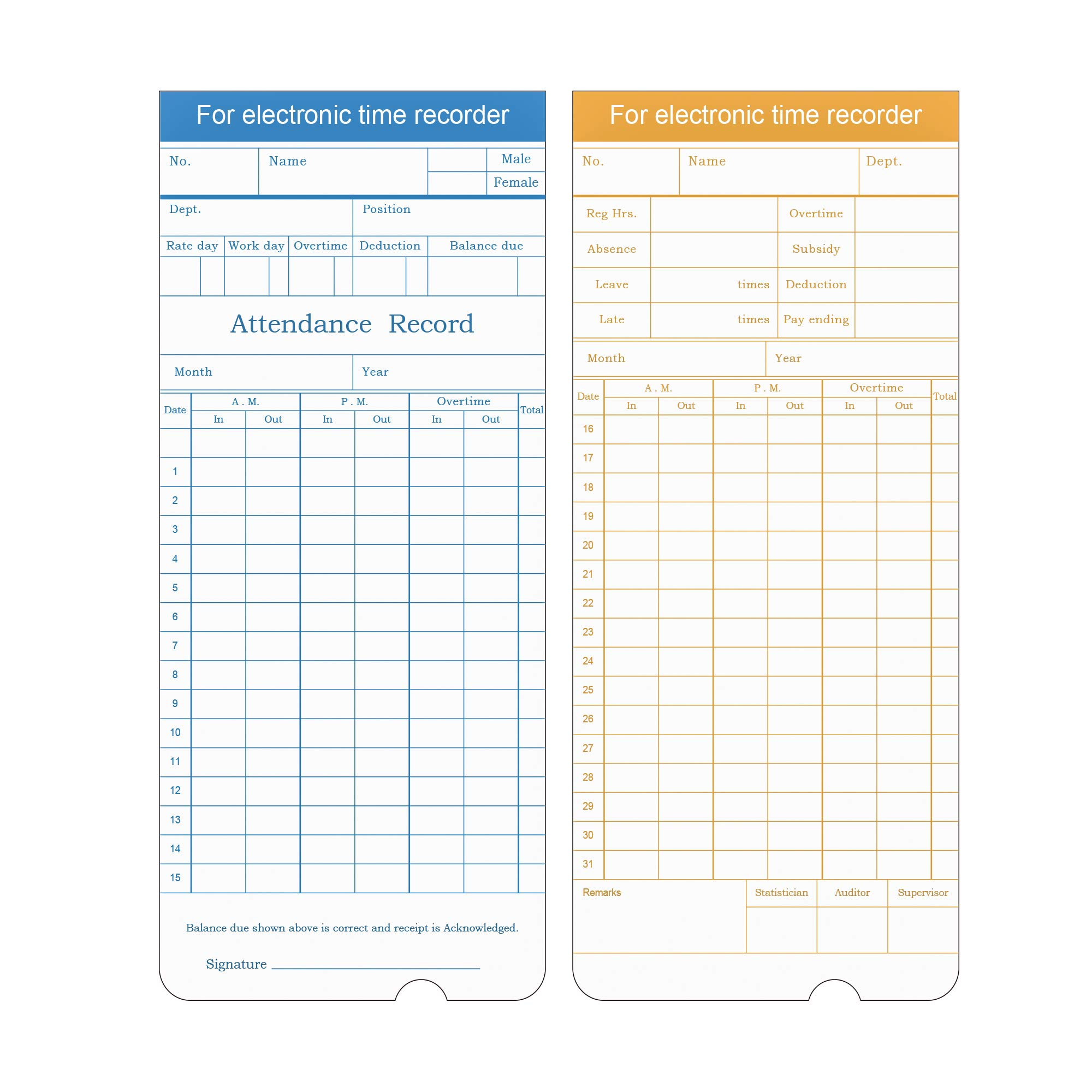 ZKTeco 100 Time Cards Monthly Time Sheets, Clock Time Cards for Punch Time Clock Payroll Recorder PH601N, 2-Sided Cards