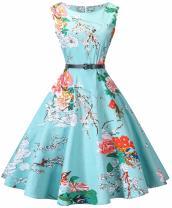 I2CRAZY Womens Boatneck Sleeveless Vintage 1950s Retro Rockabilly Prom Tea Dress with Belt  ,Large , F05
