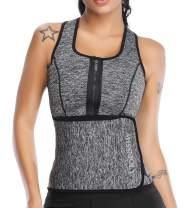 Vaslanda Neoprene Sauna Sweat Vest Waist Trainer Tank Top Weight Loss Body Shaper with Zipper Adjustable Belt