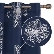 Deconovo Foil Print Floral Blackout Curtains Grommet Top Room Darkeing Thermal Insulated Light Blocking Window Drapes for Bedroom 42x95 Inch Navy Blue 1 Pair