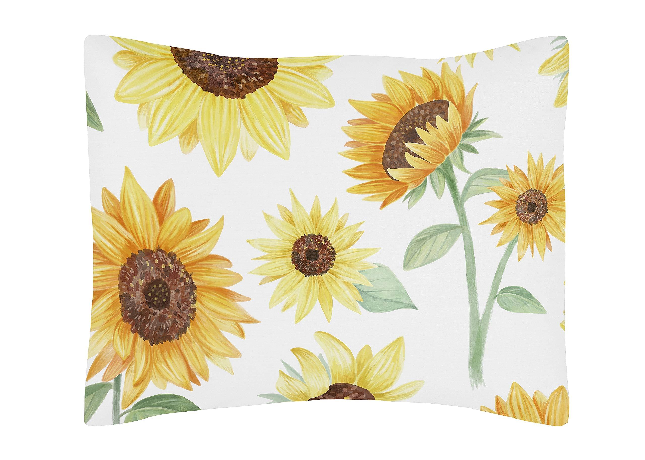 Sweet Jojo Designs Yellow, Green and White Sunflower Boho Floral Standard Pillow Sham - Farmhouse Watercolor Flower