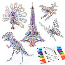 3D Coloring Puzzle Set, Arts and Crafts for Girls and Boys Age 6 7 8 9 10 11 12 Year Old, Fun Educational Painting Crafts Kit with Supplies for Kids, Birthday Toy Gift for Kids (5-Pack)