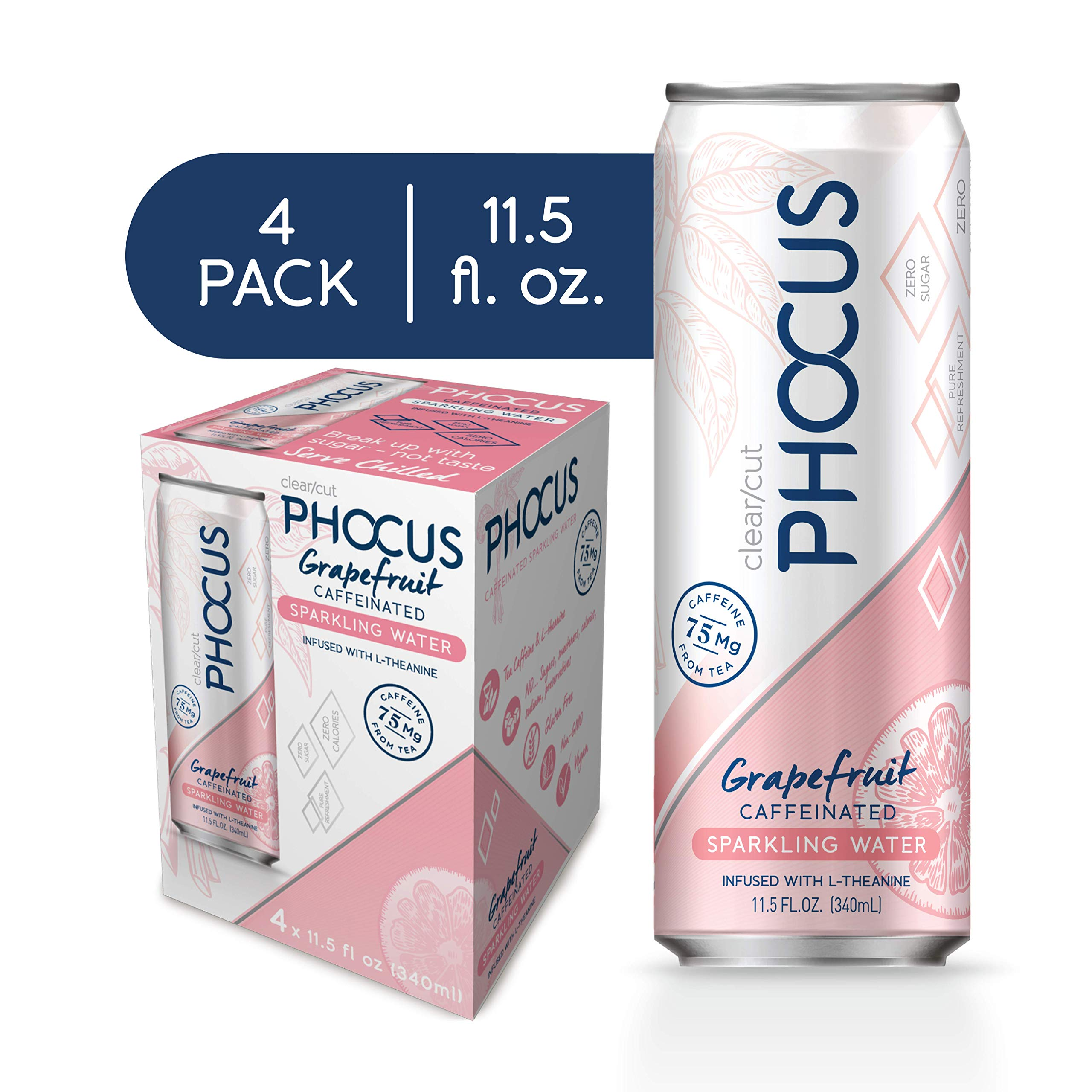 Phocus Naturally Energizing Caffeinated Sparkling Water, Grapefruit, 11.5 Ounce Cans, 4 Pack