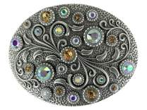 Swarovski rhinestone Crystal Belt Buckle Antique/Brass Oval Floral Engraved Buckle