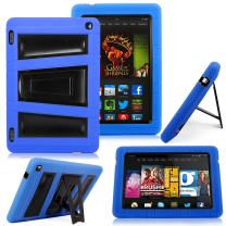 """Kindle Fire HD 7"""" 2014 Case - Cellularvilla Hybrid Armor Hard Soft Heavy Duty Dual Layer Combo Case Cover with Kickstand for Amazon Kindle Fire HD 7"""" inch 2014 4th Generation (Blue)"""