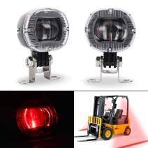 MOVOTOR Forklift Safety Light Cree LED Red 12-60V Forklift Truck Warehouse Safety Warning Pedestrian Lights 2PCS