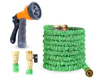 """Ohuhu 25 FT Garden Hose, Expandable Water Hose, Expanding Flexible Water Hose with Heavy Duty 3/4"""" All Brass Connectors, 8-Pattern High Pressure Spray Nozzle"""