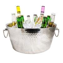 BREKX Stainless-Steel Double-Walled Insulated Beverage Tub for Ice and Drinks, Beverage Chiller for Parties