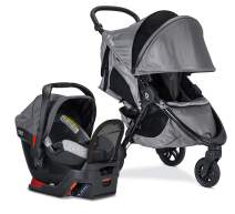 britax B-Free Sport Travel System with B-Safe Endeavors Infant Car Seat | All Terrain Tires + Adjustable Handlebar + Extra Storage with Front Access + One Hand, Easy Fold - Asher Grey
