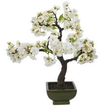 Nearly Natural Cherry Blossom Bonsai Artificial Tree, White