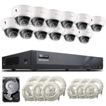 【Expandable Audio】ONWOTE 16 Channel 4K H.265 NVR (12) 4X Optical Zoom Autofocus Audio PoE Security Camera System 4TB HDD, Vandalproof Dome, 2.8-12mm Motorized Lens Outdoor 5MP IP PoE Camera, 100ft IR