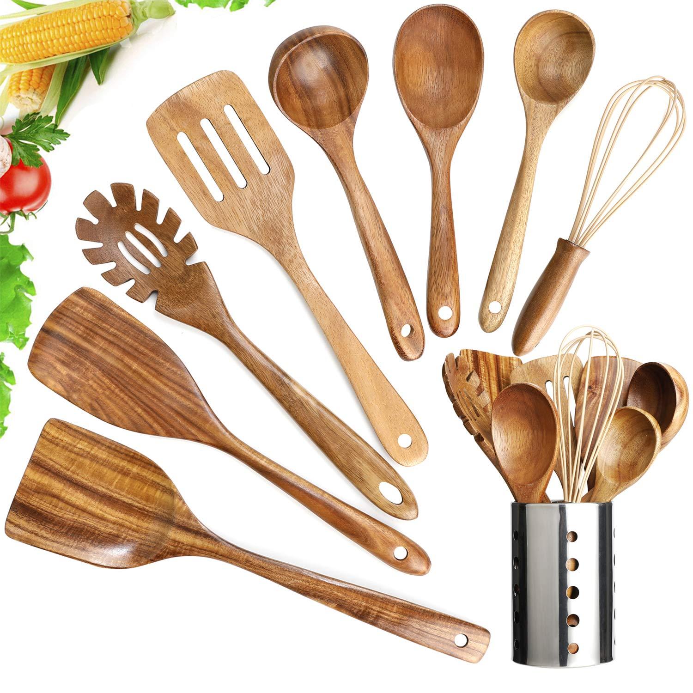 Wooden Utensils Set with Holder,Wooden Cooking Utensils Natural Teak Wood Cooking Spoons,Nonstick Kitchen Utensils with Spatula(9)