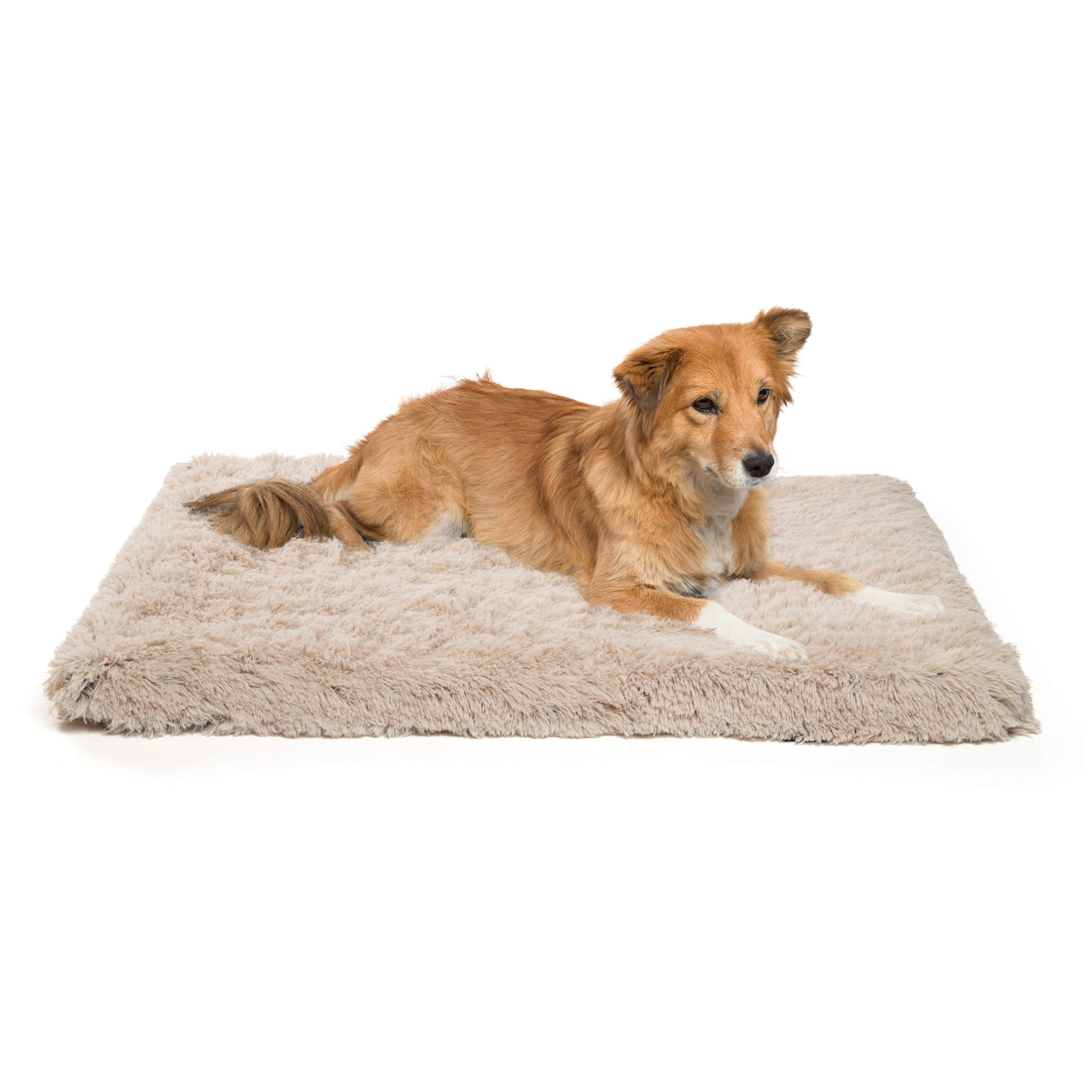 Best Friends by Sheri Orthopedic Dog Bed - Vegan Faux Fur Cushion Supports Joints, Soothes Your Pet, Improves Sleep - Self-Warming w/Zippered Cover, Machine Washable - 27x36 in Taupe