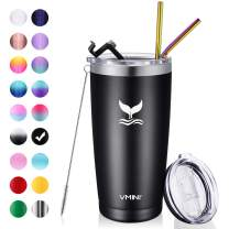 Vmini 20 oz Tumbler with Straws and Lids, Ice Coffee Tumbler, Travel Mug Vacuum Insulated Coffee Beer Pint Cup - 18/8 Stainless Steel Water Bottle : Black