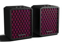 Tech-Life Twins- Mountable Stereo Travel Bluetooth Speakers. 2-Pack. 100% Wireless, 20 watts, 14hr Battery, Splashproof, w/Speakerphone - Pink