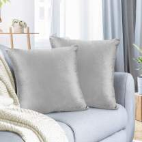 Nestl Throw Pillow Covers, Cozy Velvet Decorative Light Gray Pillow Covers 20 x 20 Inches, Soft Solid Couch Pillow Covers for Sofa, Bed and Car, Set of 2