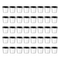 Novelinks 4 Ounce Clear Plastic Jars with Black Lids - Refillable Round Clear Containers Clear Jars Storage Containers for Kitchen & Household Storage - BPA Free (40 Pack)