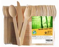 Disposable Wooden Cutlery 200pc Set   100 Forks   50 Knives   50 Spoons, 6.25 inch length. 100% Natural, Eco-Friendly, Compostable, Biodegradable, Premium Utensils for Anniversary Parties by KABOOCHY