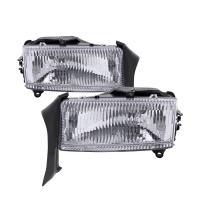 HEADLIGHTSDEPOT Chrome Housing Halogen Headlights Compatible with Dodge Dakota Durango Includes Left Driver and Right Passenger Side Headlamps