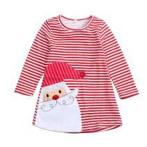 YOUNGER TREE Toddler Baby Girl Xmas Santa Deer Print Dresses Casual Kids Christmas Clothes Outfits
