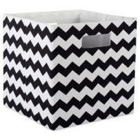 """DII Hard Sided Collapsible Fabric Storage Container for Nursery, Offices, & Home Organization, (13x13x13"""") - Chevron Black"""