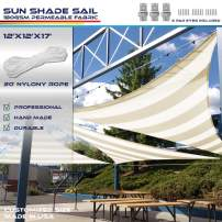 Windscreen4less 12' x 12' x 17' Sun Shade Sail Triangle Canopy in Wide Beige/White Stripes with Commercial Grade (3 Year Warranty) Customized
