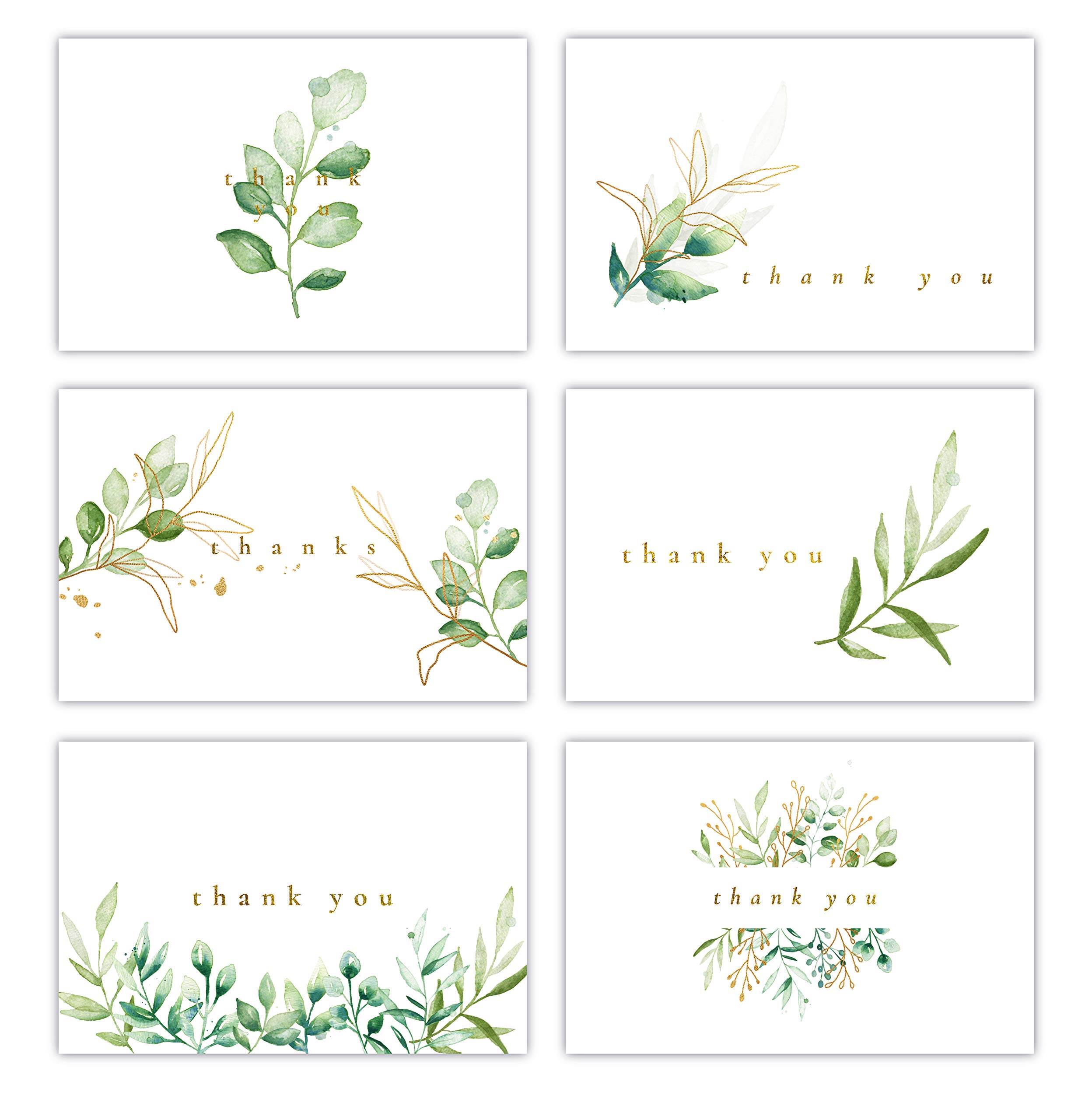 Gooji 4x6 Golden Greenery Thank You Cards (Bulk 36-Pack) Matching Peel-and-Seal White Envelopes   Assorted Set, Watercolor, Colorful Graphics   Birthday Party, Baby Shower, Weddings