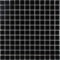 MTO0294 Classic Stacked Squares Black Glossy Glass Mosaic Tile