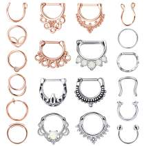 LOYALLOOK 20PCS 16G Stainless Steel Septum Clicker Hoop Nose Rings Horseshoe Lip Tragus Cartilage Ring Septum Body Piercing Jewelry for Women Men